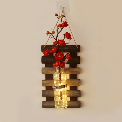 Wood and Glass Fairy Light Bedroom Study Decorative String Lamp with Clear Bottle and Red/Pink Flower