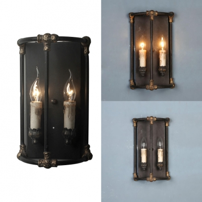 Antique Style Black Sconce Light with Fake Candle 2 Lights Metal Wall Sconce for Kitchen Sta