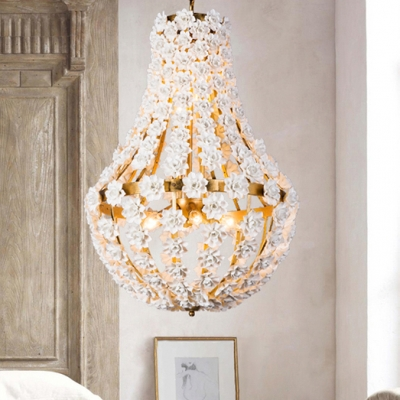 Antique Style Gold/Silver Chandelier with Flower Decoration 9 Lights Metal Pendant Lighting in Gold/Silver