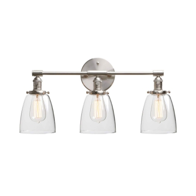 Antique Style Silver/Chrome Wall Lamp with Bell Shape 3 Lights Metal and Clear Glass Wall Light for Foyer