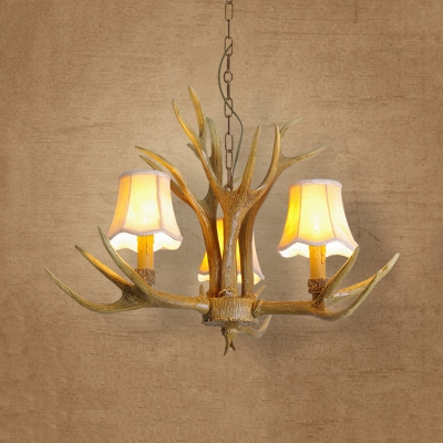 Antlers Decoration Bedroom Hanging Light Resin 3/4/5 Lights Antique Style Chandelier with Tapered Shade