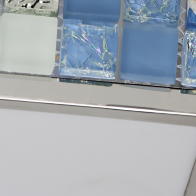 Blue Rectangle/Square Ceiling Light Modern Acrylic Flush Mount Light for Living Room
