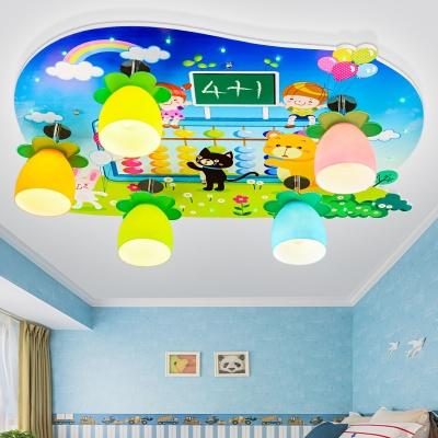 Bowl Shape LED Ceiling Mount Light Eye-Caring Cute Pattern Flush Mount Light for Girl Boy Bedroom