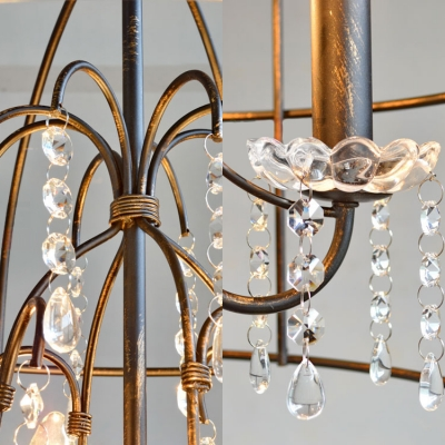 Candle Foyer Chandelier Light with Caged Shade and Clear Crystal Metal 4 Lights Traditional Pendant Lighting in Black
