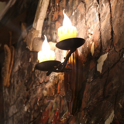 Candle Style Wall Light Corridor 2 Lights Vintage Sconce Light with Wooden Base in Aged Brass
