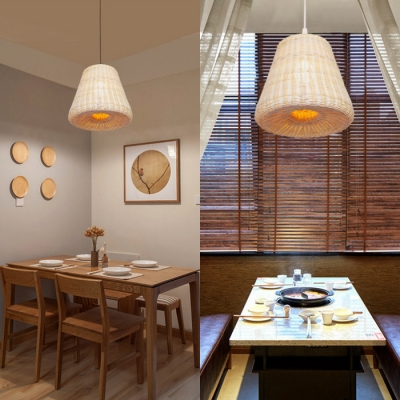 Flared Pendant Lighting Dining Room Single Light Rustic Rattan Pendant Ceiling Light in Beige