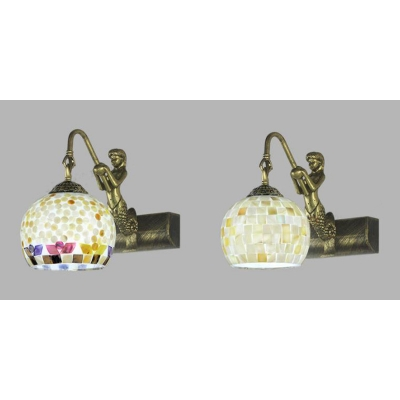 Globe Shade Sconce Light 1 Light Tiffany Style Wall Light with White/Colorful Shell Decoration for Bathroom