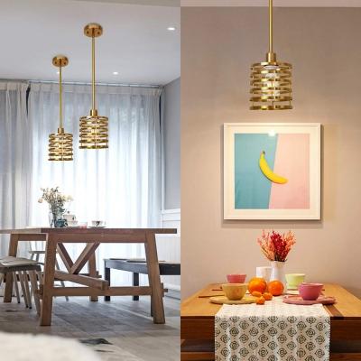 Industrial Drum Pendant Light Metal Single Light Brass Hanging Light for Restaurant Bar