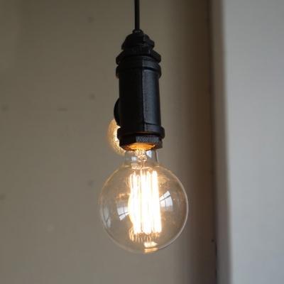 Open Bulb Chandelier 2 Lights Metal