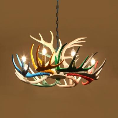 Living Room Antlers Chandelier Resin 6/8/9 Lights Antique Style Multi Color Pendant Lighting