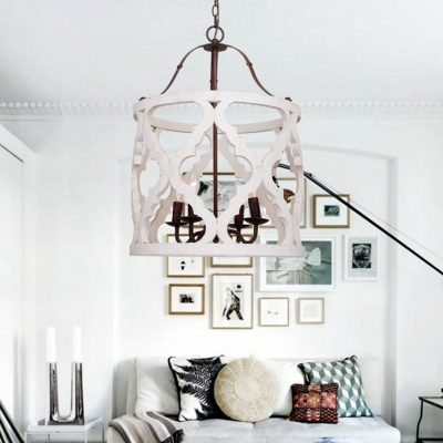 Living Room Foyer Chandelier 4 Lights Drum Shape Antique Style White Pendant Lamp in White