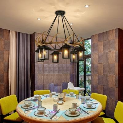 Metal and Resin Cage Pendant Light with Deer Horn Dining Room 6 Lights Vintage Chandelier in Black