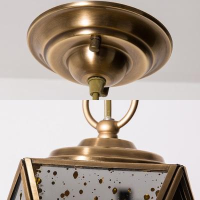 Metal Glass Polyhedron Ceiling Light 1 Light Vintage Style Hanging Light in Gold for Bathroom Hotel