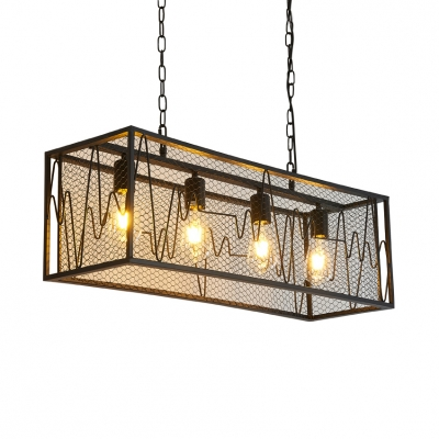 Metal Rectangle Island Fixture with Adjustable Chain Dining Room 4 Lights Industrial Hanging Lighting in Black