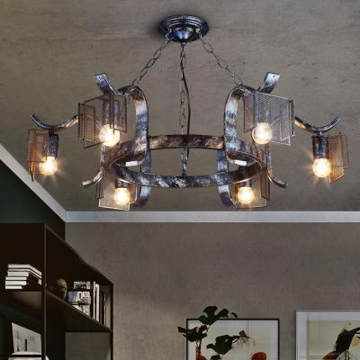 Metal Round Chandelier Lighting 6 Lights Pendant
