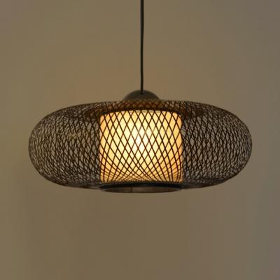 Oval LED Ceiling Light Single Light Bamboo Antique Pendant Light for Living Room Dining Room