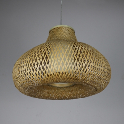 Rustic Style Brown Pendant Light with Oval Shape Single Light Rattan Ceiling Fixture for Dining Room