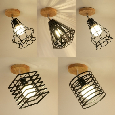 Singe Light Caged Semi Flush Light Vintage Style Rotatable Ceiling Light for Foyer