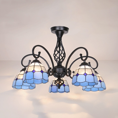 Stained Glass Cone Semi Flush Mount Light 5 Lights Tiffany Style Ceiling Lamp in White/Blue/Yellow/Beige