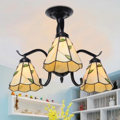 Stained Glass Semi Flush Light 3 Lights Leaf/Blue/Baroque/Rose Tiffany Style Ceiling Lamp for Study