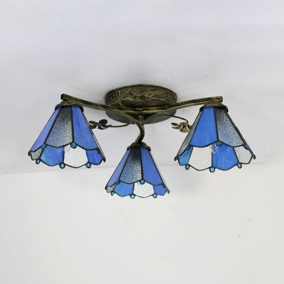 Tiffany Cone Semi Flush Ceiling Light 3 Lights White/Beige/Blue/Clear Glass Light Fixture for Bedroom