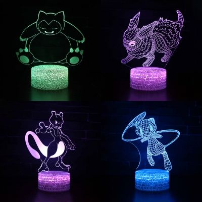 Touch Sensor Night Light 7 Color Changing Cartoon Character Pattern