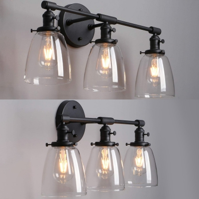 Vintage Style Black Wall Lamp with Bell Shape 3 Lights Metal and Clear Glass Wall Light for Indoor