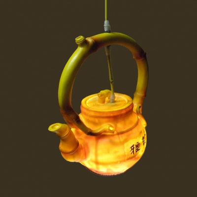 Vintage Teapot Shape Pendant Light Single Light Yellow Hanging Light for Dining Room