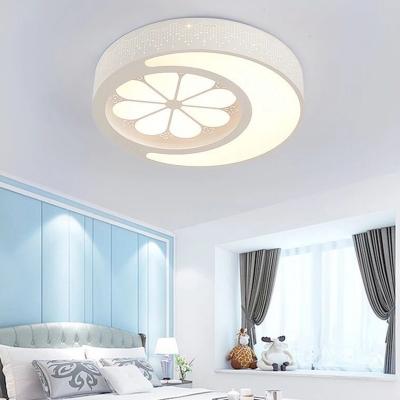 Warm Lighting/Stepless Dimming Light Fixture White/Pink Mood Flower Pattern LED Ceiling Light for Kindergarten