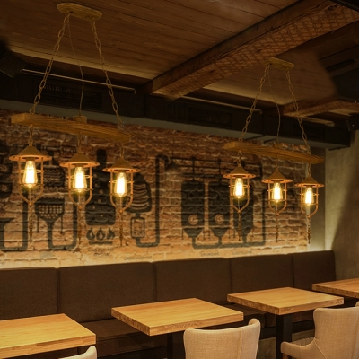 Weathered Lantern Island Lighting 3 Lights Lodge Industrial Metal Hanging Ceiling Light in Rust