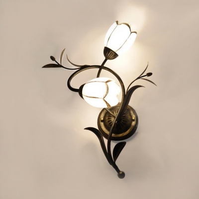 White Flower Wall Light Metal Frosted Glass 2 Lights Antique Style Sconce Light For Bedroom Bathroom Beautifulhalo Com