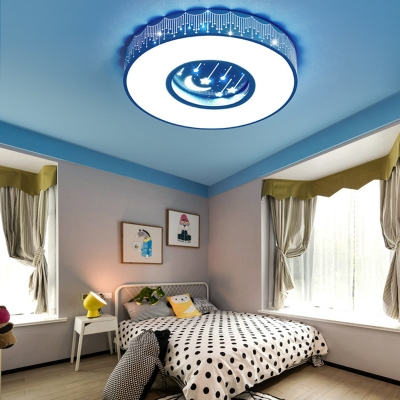 White Lighting/Stepless Dimming Light Fixture Moon Star Pattern Round Flush Mount Light in Blue/Pink