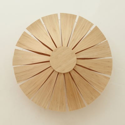 Wood Round Sconce Wall Light Modern Simple 1-Light Wall Lamp in Beige for Hallway Bedroom