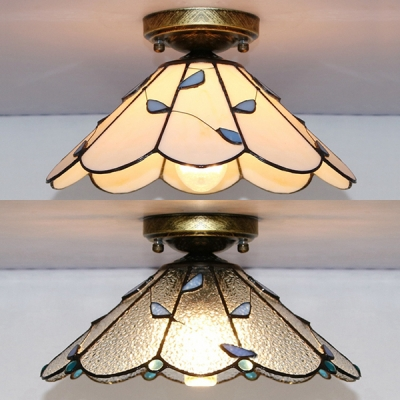 1 Light Cone Ceiling Light Tiffany Style Rustic White/Clear Glass Flush Light for Bedroom