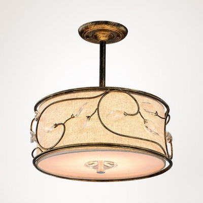 3/5 Lights Ceiling Light Rustic Style Metal Fabric Beige Drum Shade Semi Flush Mount Light for Hotel Restaurant
