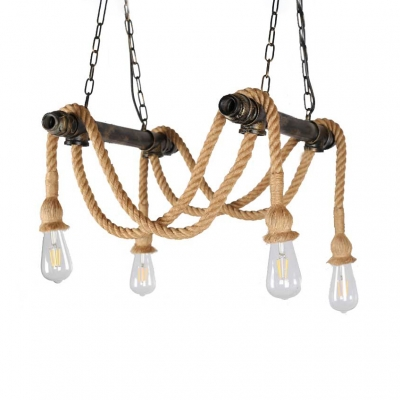 4 Lights Jute Rope Pendant Lighting With Open Bulb And Hanging Chain