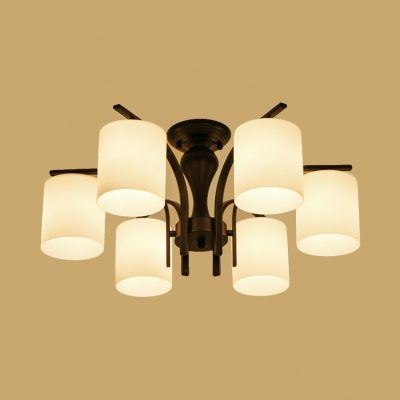 Simple Style Ceiling Light with Cylinder Shade 6 Lights Metal Frosted Glass Semi Flush Chandelier for Foyer Bedroom