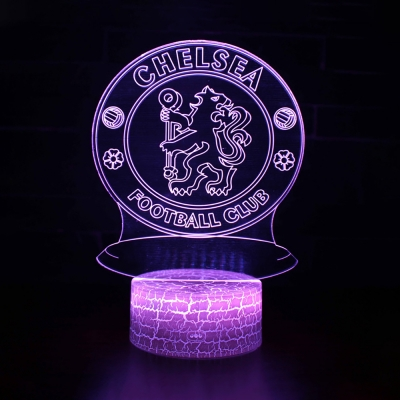 7 Color Changing 3D Illusion Light with Touch Sensor Soccer Element Pattern LED Night Light for Boy Girl Birthday Gift