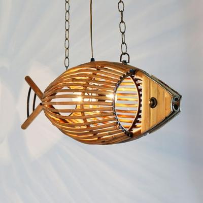 Bamboo Fish Chandelier Light Tropical Style 1 Light Suspension Light for Restaurant, 10