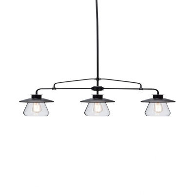 Clear Glass Linear Island Lighting 3 Lights Shabby Chic Island Ceiling Light in Black for Dining Table
