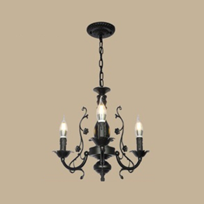 Colonial Style Black White Chandelier With Candle 3 5 6 Lights Metal