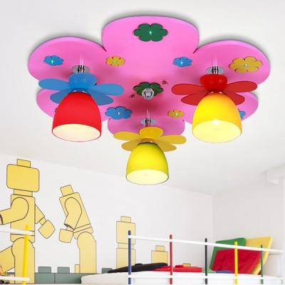 Colorful Flower Semi Flush Mount Light Creative Wood Bowl Shade LED Light Fixture for Girl Boy Bedroom