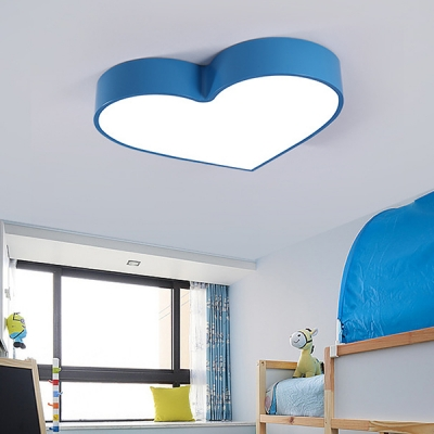 Cute Heart Shape Flush Ceiling Light Acrylic Metal Ceiling Mount Light in Red/Blue/Pink/Yellow for Girl Bedroom
