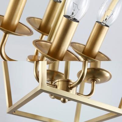 Dinging Room Foyer Candle Chandelier Metal 4 Lights Vintage Style Gold Pendant Lamp