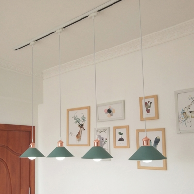 Dining Room Conical LED Hanging Light Metal 4 Lights Simple Style Macaron Colored Track Lighting