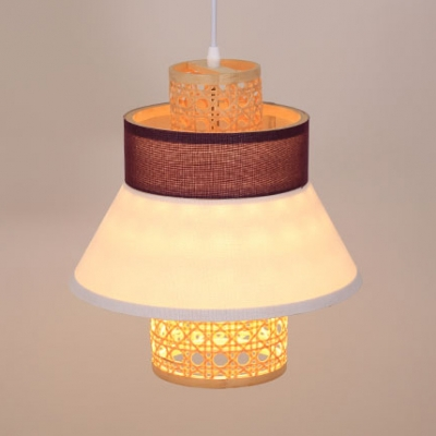 Flared Pendant Lighting Coffee Shop Restaurant Single Light Rustic Style Rattan Pendant Ceiling Light