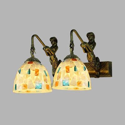 Glass Bell Globe Sconce Light 2 Lights Traditional Wall Lamp with Mermaid for Bathroom