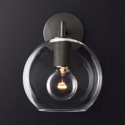 Globe Balcony Cafe Sconce Light Glass and Metal 1 Light Vintage Style Wall Light in Brass/Chrome/Black
