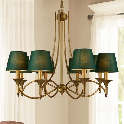 Green Tapered Shade Chandelier Dining Room Fabric Metal 3/6/8 Lights Rustic Hanging Light