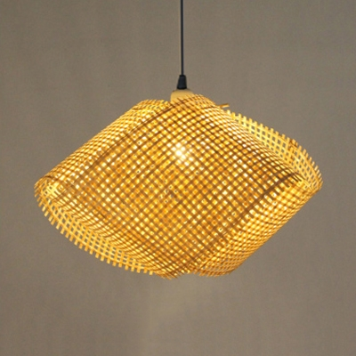 Hand Knitted Pendant Light for Restaurant Cafe Country Style One-Light Hanging Lamp in Beige